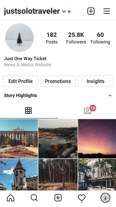 Solo Travel Instagram account for sale